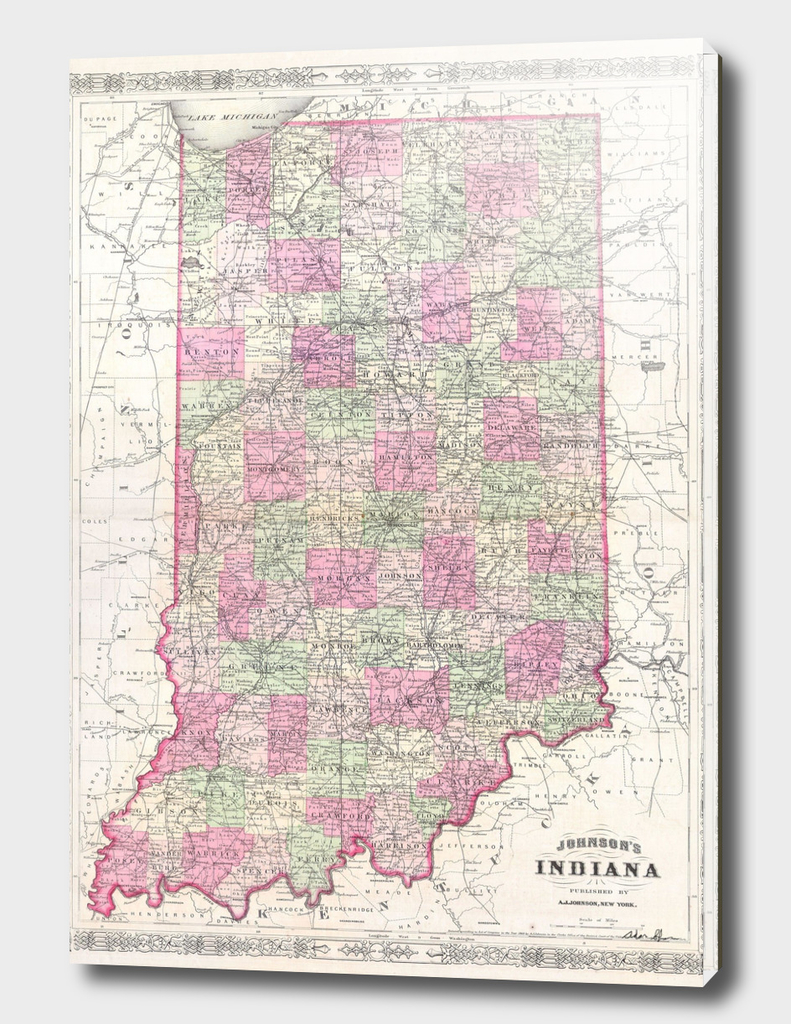 Vintage Map of Indiana (1864)