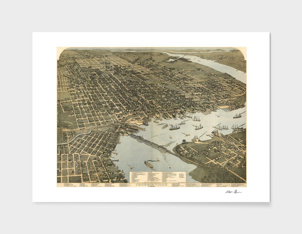 Vintage Pictorial Map of Jacksonville Florida (1893)