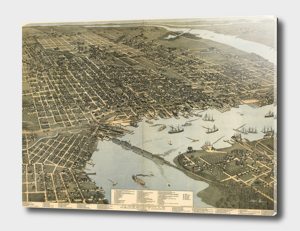 Vintage Pictorial Map of Jacksonville Florida (1893)