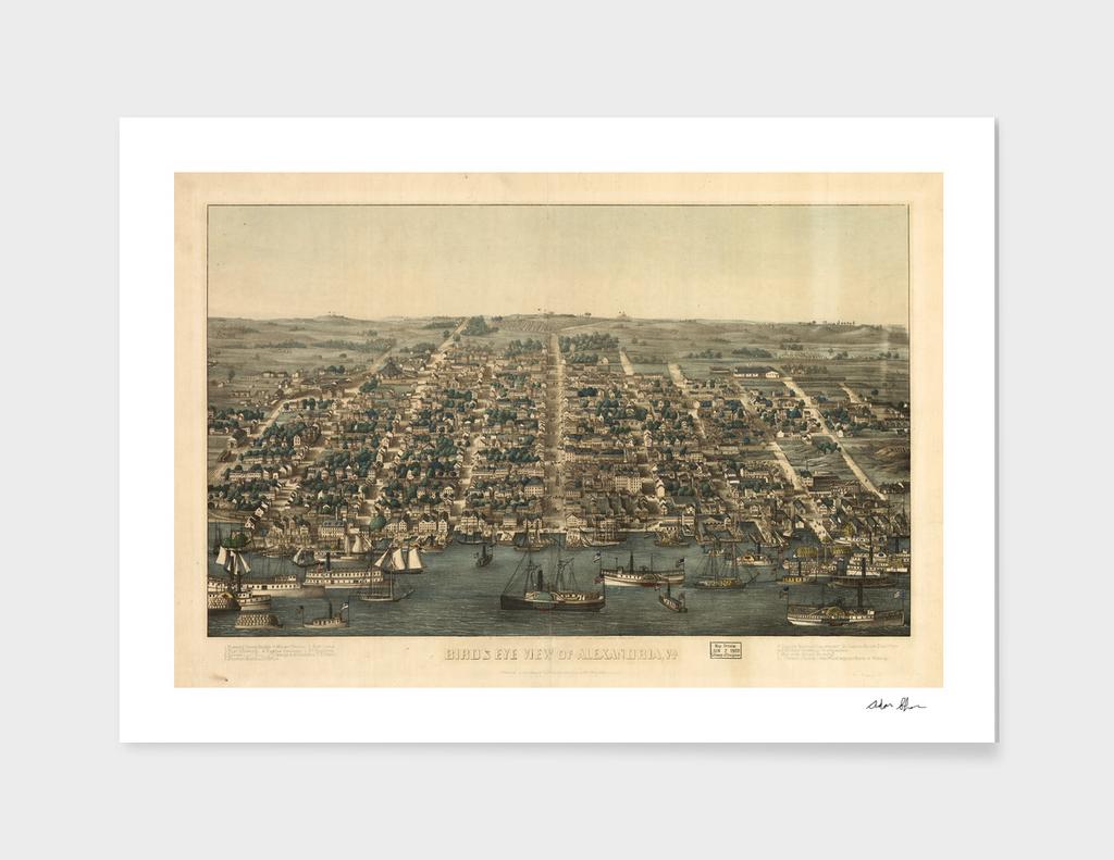 Vintage Pictorial Map of Alexandria Virginia (1863)