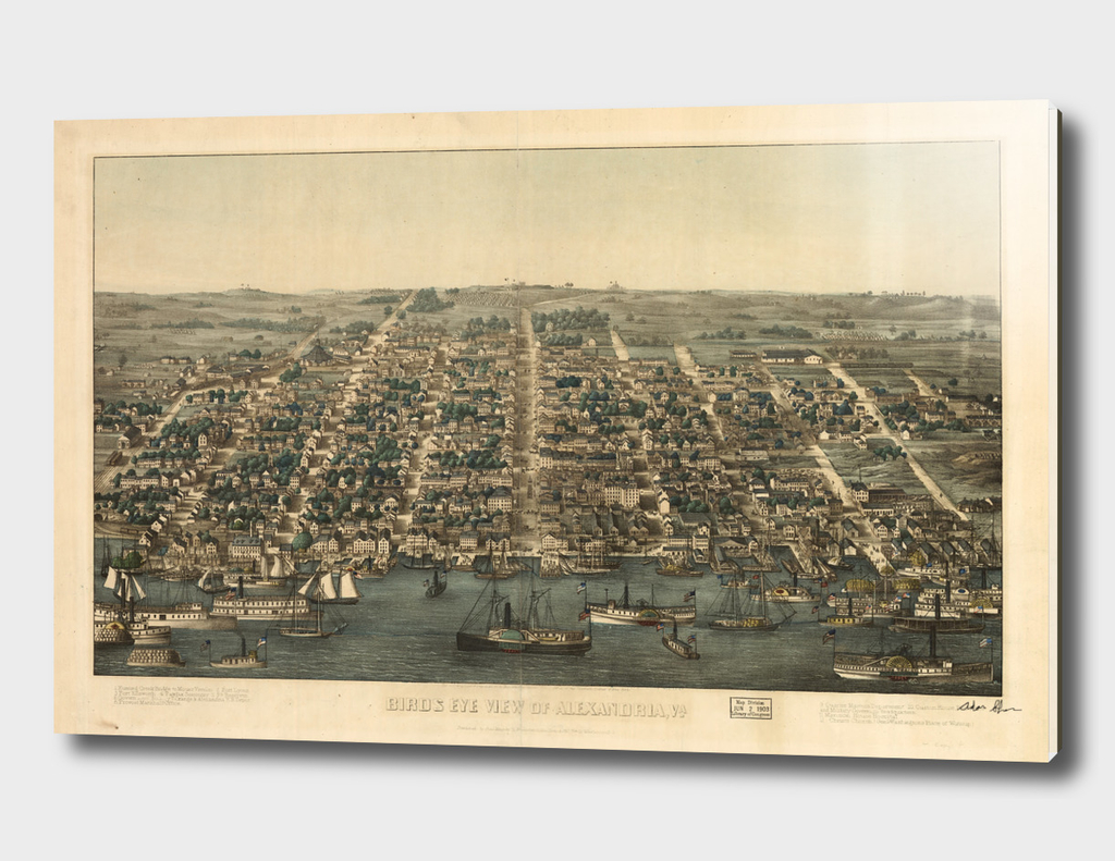 Vintage Pictorial Map of Alexandria Virginia (1863)