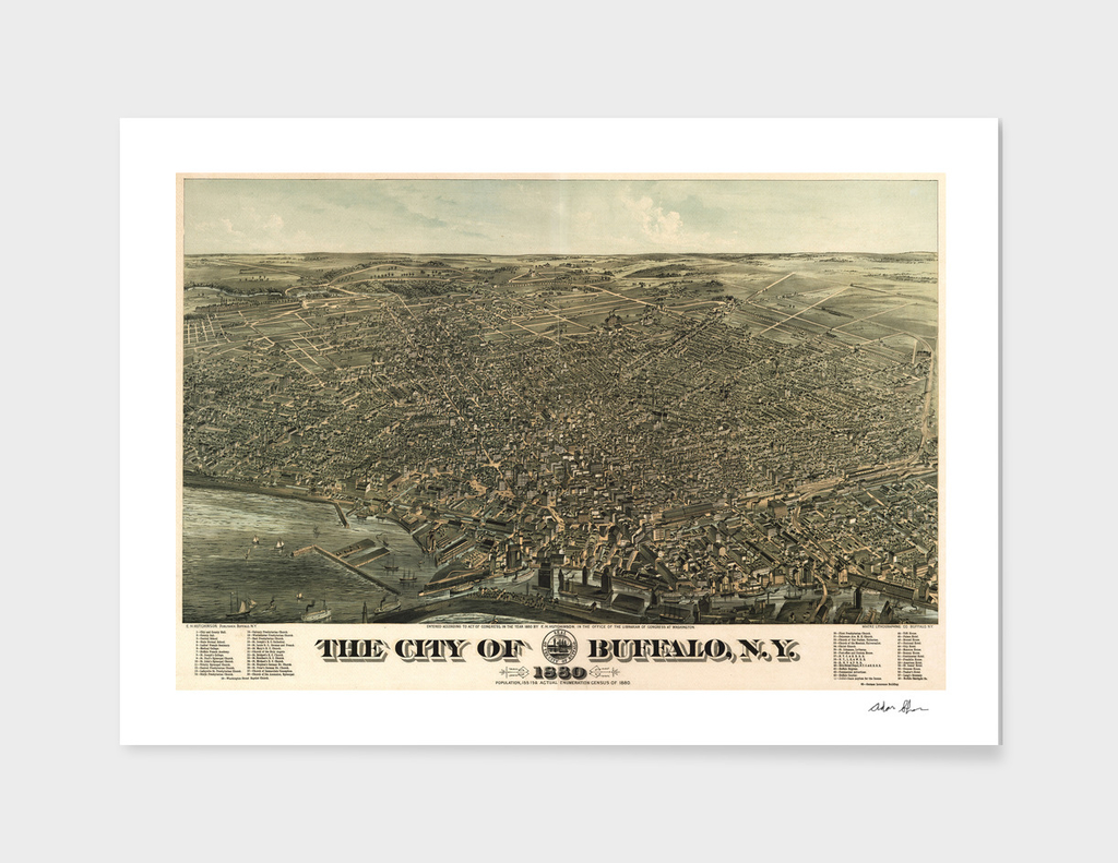 Vintage Pictorial Map of Buffalo New York (1880)