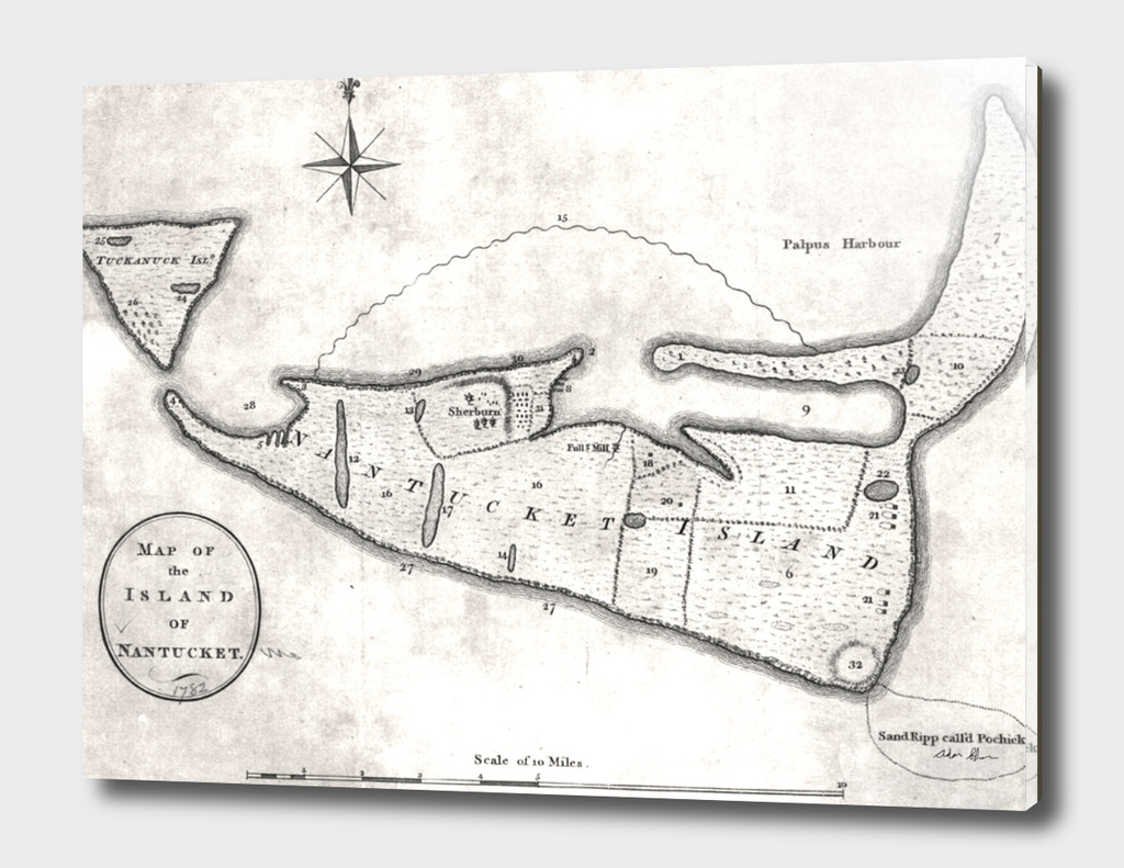 Vintage Map of Nantucket MA (1782)