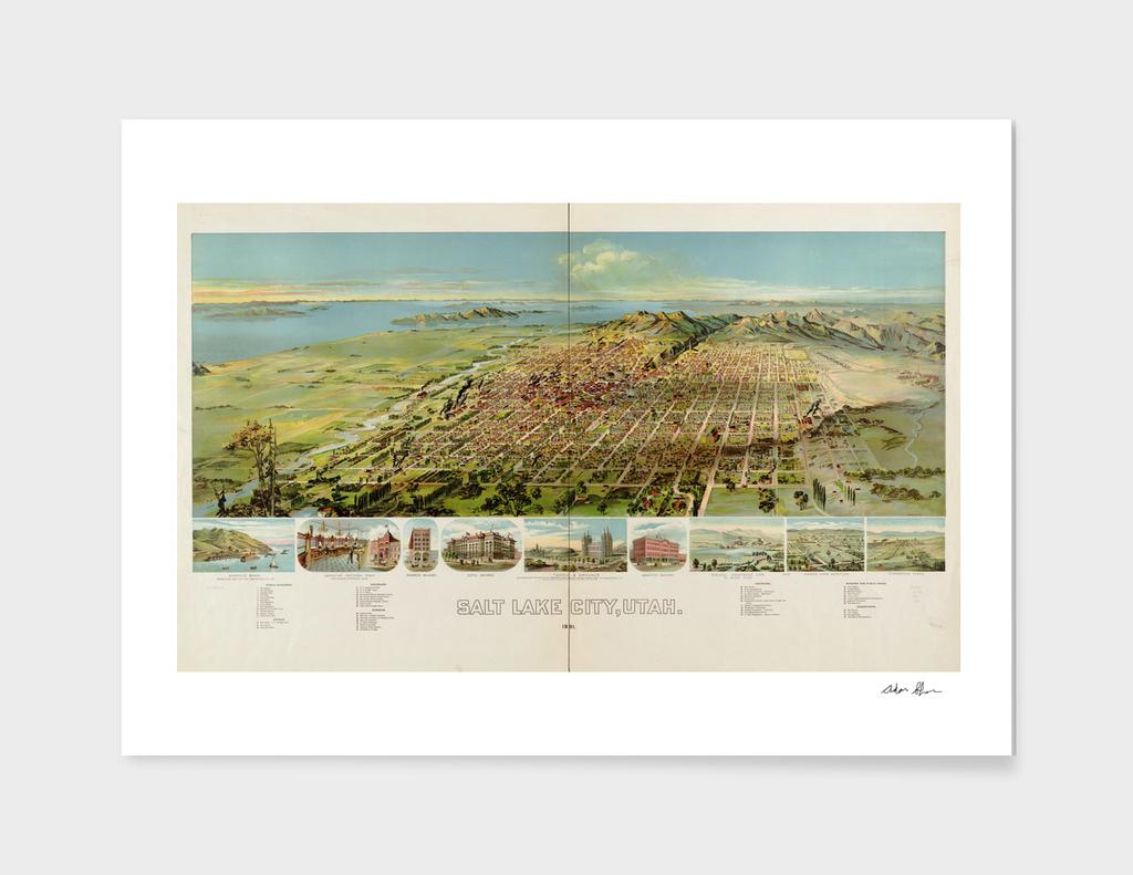 Vintage Pictorial Map of Salt Lake City Utah (1891)